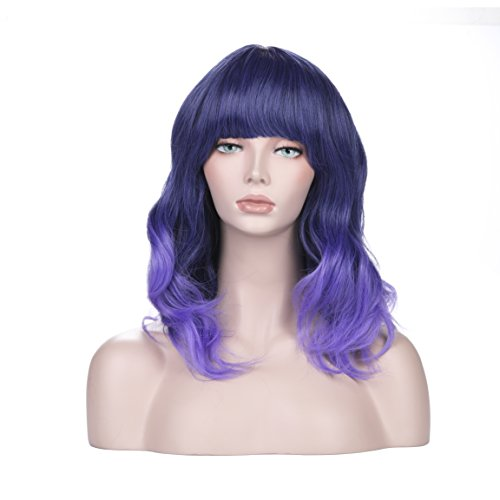 Adjustable 1.5' Shoulder Strap (YOPO Lolita Wig Short Bob Ombre Wavy Harajuku Wigs with Bangs Shoulder-length Full Curly Lilac Purple Wigs Heat Resistant Hair Natural Looking Cosplay Wigs for Women with Wig Cap)