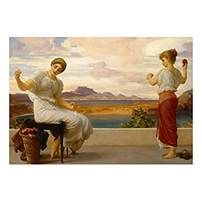 Winding The Skein by Frederic Lord Leighton - Bristish Neoclassicist - Acadmicism - Peel and Stick Large Wall Mural, Removable Wallpaper, Home Decor - 66x96 inches