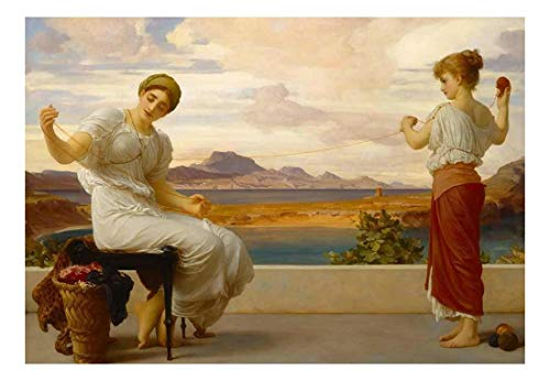 Winding The Skein by Frederic Lord Leighton Bristish Neoclassicist Acadmicism Peel and Stick Large Wall Mural Removable Wallpaper