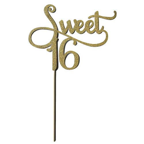 (BLUECELL Gold Monogram Sweet 16 Cake Topper, 16th Birthday Anniversary Cake Topper For Sweet 16 Party Themes Decoration)