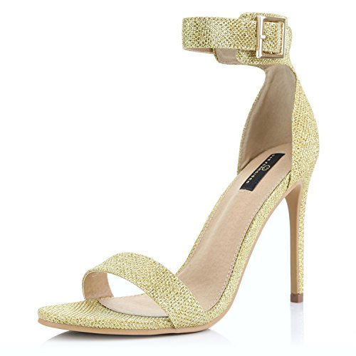 DailyShoes Women's Fashion Open Toe Ankle Buckle Strap Platform High Heel Casual Sandal Shoes, Gold Glitter, 5.5 B(M) US (Wrap Buckle Around)