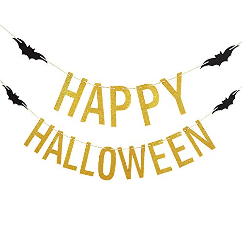 Gold Glittery Happy Halloween Banner -Halloween Party Decoration Supplies ()