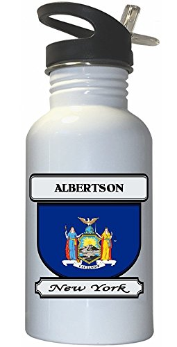 albertson-new-york-ny-city-white-stainless-steel-water-bottle-straw-top