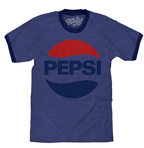Blue Mens Ringer - Tee Luv Pepsi Shirt - Classic Pepsi Cola Ringer T-Shirt (Blue) (Small)