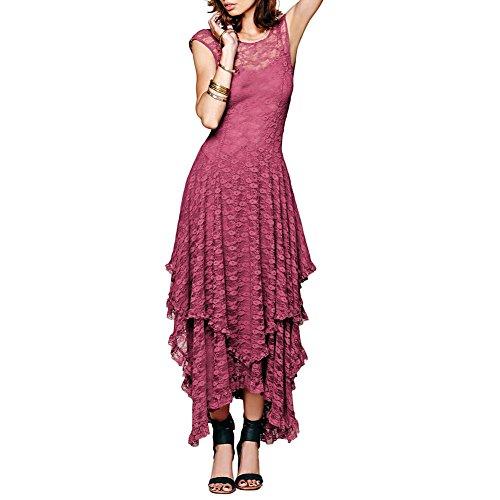 Mode Ca Dentelle Florale Sans Manches Des Femmes Hiérarchisé Rose Longue Robe De Soirée Irrégulière