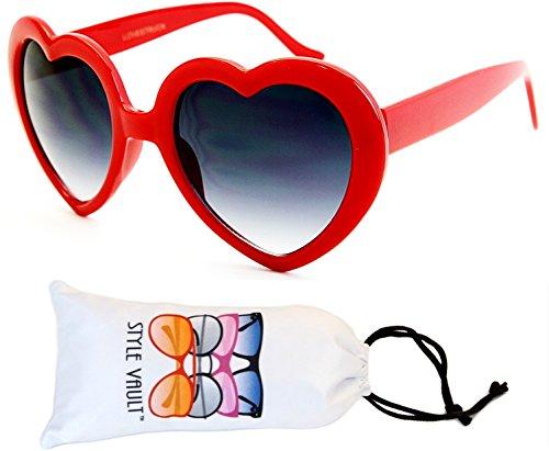 WM3099-VP Style Vault Plastic Heart Shaped Sunglasses (B3347F Red-Smoked, UV400) (Cupid Men Costume)