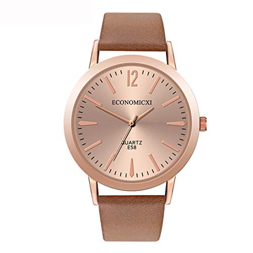 Winsopee Leather Strap Watch for Women Casual Quartz Analog Round Dial Watch Gift(Coffee)