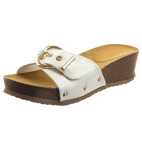 Sopily - Chaussure Mode Sandale Ouverte Cheville femmes Brillant Peau de serpent Métallique Talon compensé 4 CM - Blanc