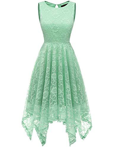 (DRESSTELLS Women's Cocktail Floral Lace Handkerchief Hem Bridesmaid Wedding Gown Mint XL)