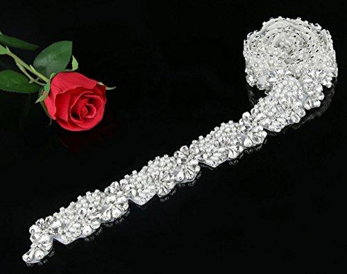 Soardream Garniture En Cristal Strass Appliqué Princesse De La Mode Pour La Robe De Mariée, Appliques De Bricolage, Argent Ceinture Mariage Longueur De 45cm