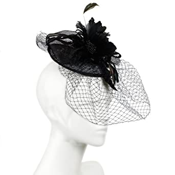 2550665682ad5 Beautiful Wide Fascinator with large Bows and Feather flower corsage  centre. All over Net and Veil  Three colour options and great value.