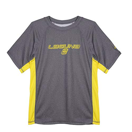 LAGUNA Boys Crewneck Short Sleeve Loose Fit Rashguard Swim Sun Tee Shirt, UPF 50+, Heather Black/Neon Yellow, 18/20 ()