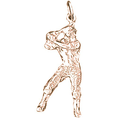 (Rose Gold-plated Silver 33mm Baseball Player Pendant)