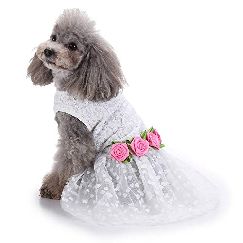 (IDOMIK Dog Pet Wedding Dress Lace Coat Shirt for Small Medium & Large Dogs Shirts Suits with Satin Bows or Rose Cute Puppy T-Shirt Vest Costumes Top Clothes Festival Apparel Party Cosplay Tops Tuxedo)