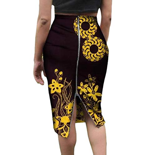 Mfasica Women Zip Up Plus Size African Print Half Skirt Vogue Bodycon Skirt 7 3XL by Mfasica