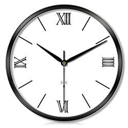 JKL-wall clock,Radio Controlled, Non-Ticking, Roman Numerals, Auto-Calibration,Simple Round Design,Metal Frame Glass Cover, Modern Home Decorative for Kitchen Living Room Bedroom