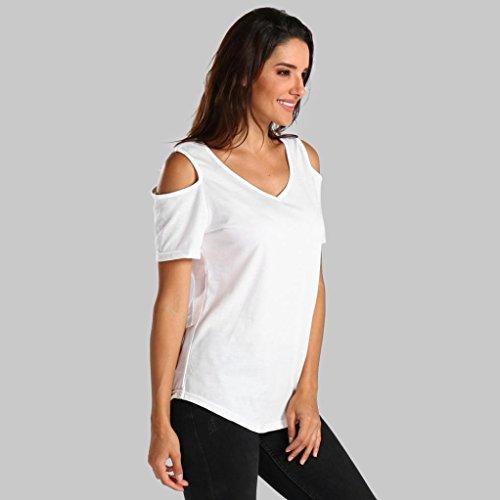 Creux Shirt Chemisier Mode Manche Courte V Gilet T Sexyville Blouse Col Femme Blanc Loose w0qx5EFBP