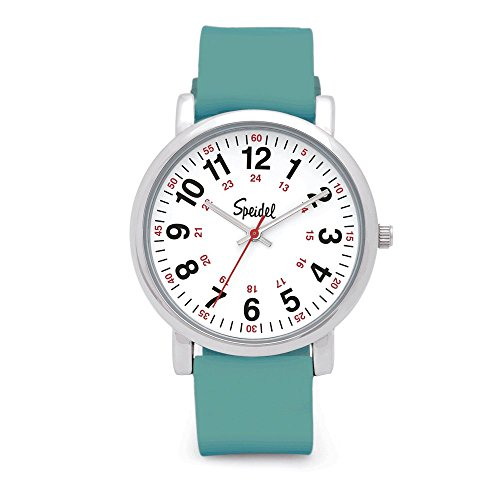 Speidel Scrub Watch for Medical Professionals with Teal Silicone Rubber Band - Easy to Read Timepiece with Red Second Hand, Military Time for Nurses, Doctors, Surgeons, EMT Workers, Students and (Lady Military Watches)