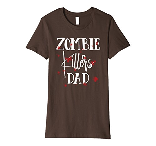 Woman Zombie Killer Costume (Womens Halloween Costume Zombie Killers Dad Bloody T-Shirt Small Brown)