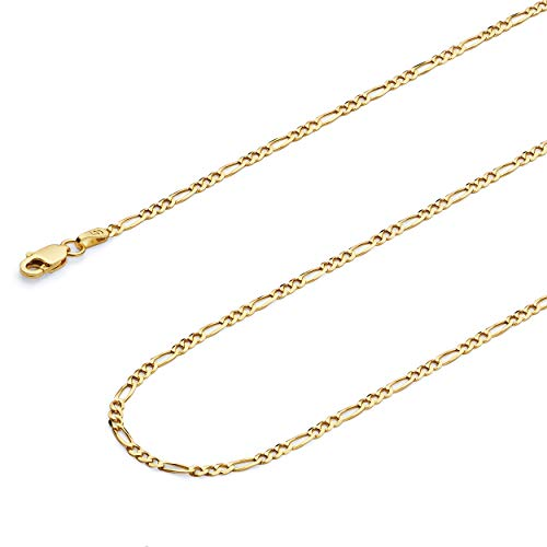 14k Solid Gold Figaro Chain - Wellingsale 14k Yellow Gold SOLID 2mm Polished Figaro Chain Necklace with Lobster Claw Clasp - 20
