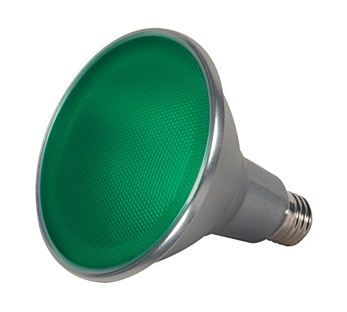 Satco S9481 Par38 LED Green 40' Beam Spread Medium Base Light Bulb, 15W