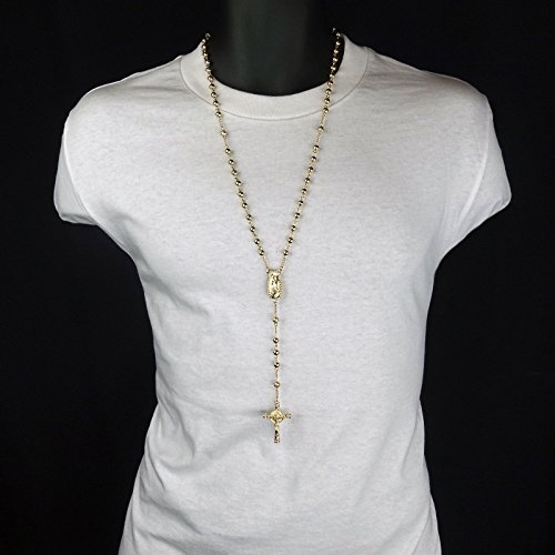 Chanel Kids Costume (Mens Hip Hop 5mm GOLD Beads 14kt G.P (Guadalupe) Rosary & Jesus Cross Necklace nn)