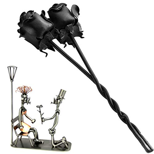 IK Style 2 Twin Iron Roses Bouquet and Stunning Kneeling Gentleman Proposing Steel Sculpture - Perfect Set (Iron Fancy Fireplace)