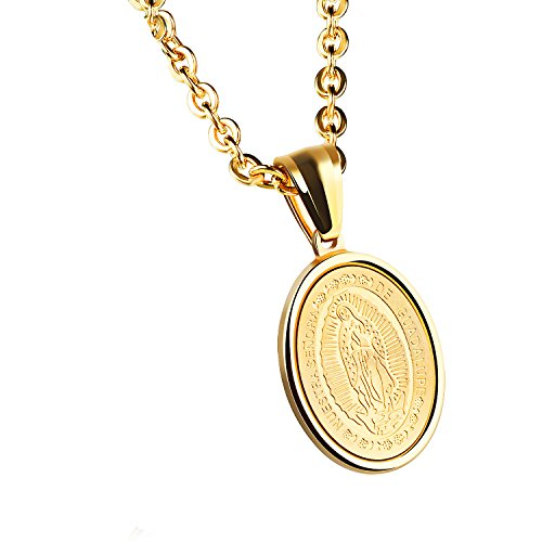 High Polish Prayer Box Charm (Unisex Mens Womens Guadalupe Medal Catholic Stainless Steel Oval Pendant Necklace High Polish)