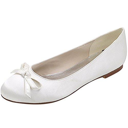Loslandifen Kvinners Satin Flats Elegant Rund Tå Bryllup Ballett Brude Sko (9872-01b37, Hvit Satin)