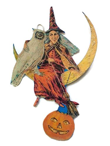 Halloween Ornament Decoration Scary Witch with her Owl -