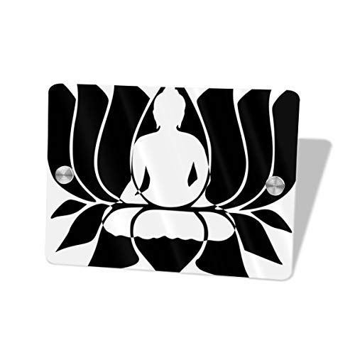 - Hucuery Commission Buddhist Lotus 5.57.5 in Square Doorplate£¬Square House Decoration, Custom Personality Slogan, Office Meeting Sign