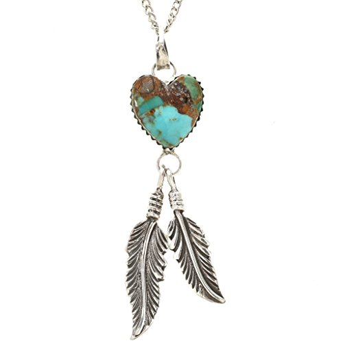 Emerald Valley Turquoise Silver Heart Pendant Navajo Dangling Feather Design 1280