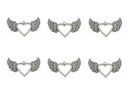 ALIMITOPIA 20pcs Hollow Heart Angel Wing Punk Charms Pendants for DIY Jewelry Making Accessories(Antique -