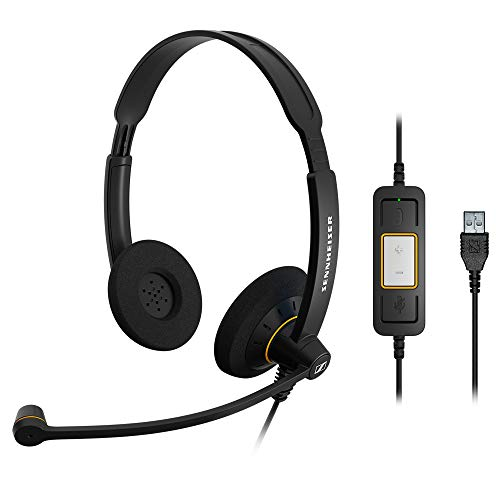Sennheiser SC 60 USB ML (504547) - Double-Sided Business Headset | For Skype for Business | with HD Sound, Noise-Cancelling Microphone, & USB Connector (Black)