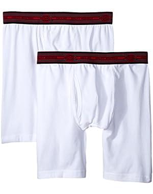 Men's 2 Pack Cotton Performance White Long Leg Boxer Brief