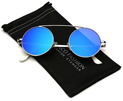 Bridgeless Circle Frame Flat Lens Fashion Sunglasses (M-L - Glasses 2016 Trendy Womens
