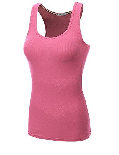 Doublju Women Sleeveless Basic Design Stretchy Fabric Comfy Tank Top INDIPINK,M