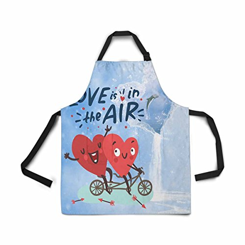 Waterfall Dolphin (InterestPrint Adjustable Bib Apron for Women Men Girls Chef with Pockets, Ocean Dolphin Jump Waterfall Flowing Sea Heart Bike Novelty Kitchen Apron for Cooking Baking Gardening Pet Grooming Cleaning)