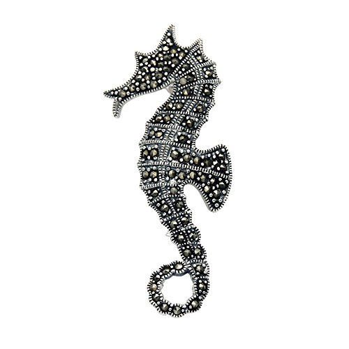 Wild Things Sterling Silver Marcasite Seahorse Pin Coral Sterling Silver Brooch