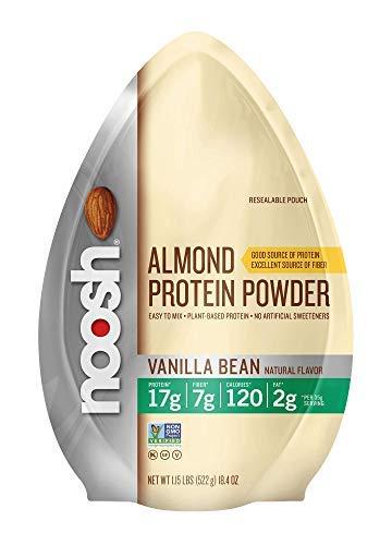 NOOSH Plant Based Almond Protein Powder Vanilla 1.15lb Bag - Vegan, Naturally Sourced Ingredients, Non-GMO, Gluten Free, Kosher, Peanut Free, Soy Free, Dairy Free 17g of Protein per Serving