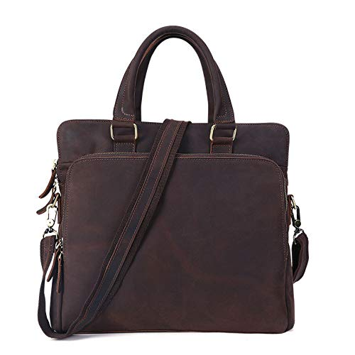 Yunfeng Leather Satchel Messenger Laptop Shoulder Bag Briefcase Men's Leather Cross Section Square top Layer Cowhide Portable Briefcase 36832cm -