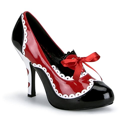 4 Inch Heels Queen of Hearts Costume Shoe Cartoon Pumps Black White Red Hearts Size: 11 (Queen Of Hearts Shoes)