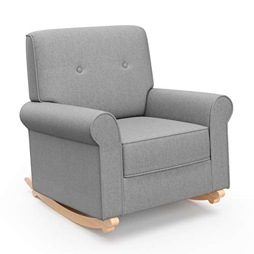 - Graco Harper Tufted Rocker, Horizon Gray Cleanable Upholstered Nursery Rocking Chair, Converts to Stationary Armchair