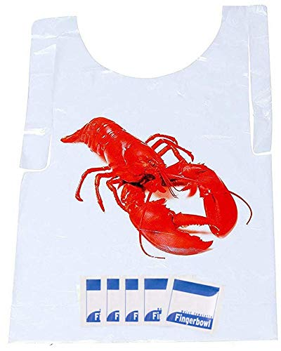 Lobster Bib and Wet Wipe Bundle - 25 Disposable Bibs and Moist Towelettes for Crawfish Boil, Seafood Fest, or Home Dinner Party by AMSCO Disposables