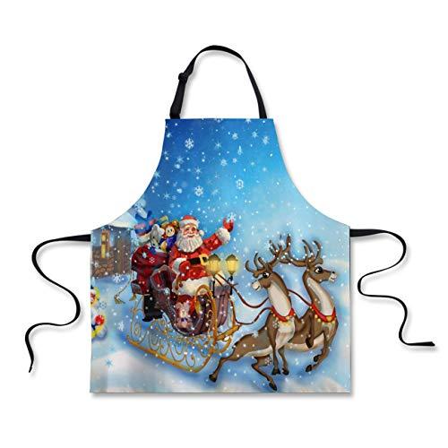 FOR U DESIGNS Christmas Apron, Santa in Sleigh Reindeer Toys in Snowy North Pole Tale Fantasy Image, Unisex Kitchen Bib Apron Adjustable Neck Cooking Baking Gardening, Navy Blue