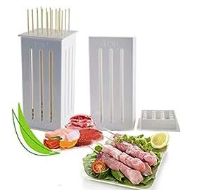 16 Holes DIY BBQ Slicer Box Food Meat Vegetable Slicer Box Portable Barbecue Grill Kebab Tool