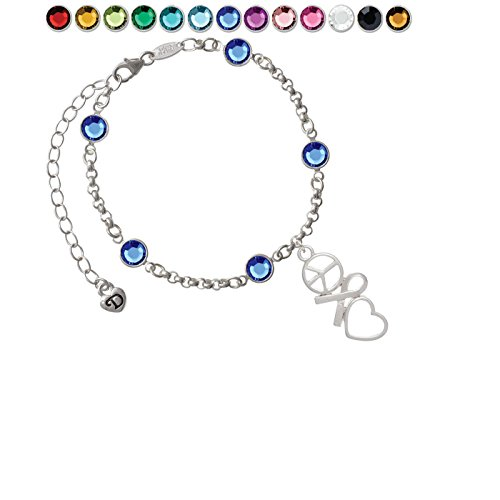 Peace Sign Ribbon Heart Custom Crystal Color Fiona Charm Bracelet