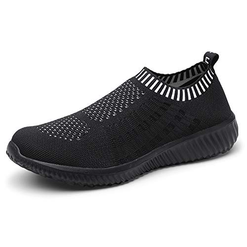 TIOSEBON Women's Athletic Walking Shoes Casual Mesh-Comfortable Work Sneakers 10 US All Black