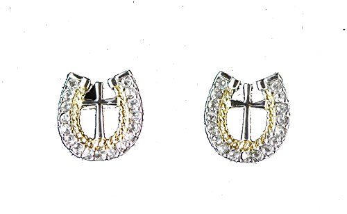 Crystal Rope Earrings (Western bling horse lover jewelry horseshoe cross crystal rhinestone embossed rope edge post earrings)