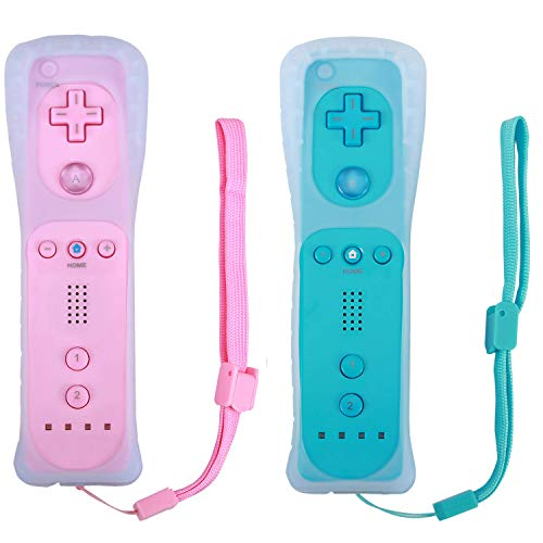 (Poulep 2 Packs Gesture Controller with Silicone Case and Wrist Strap for Nintendo wii Wii U Gamepad Console (Pink and Blue))